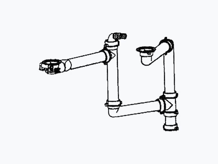 Łącznik do podwieszanych komór Blanco wraz z syfonem