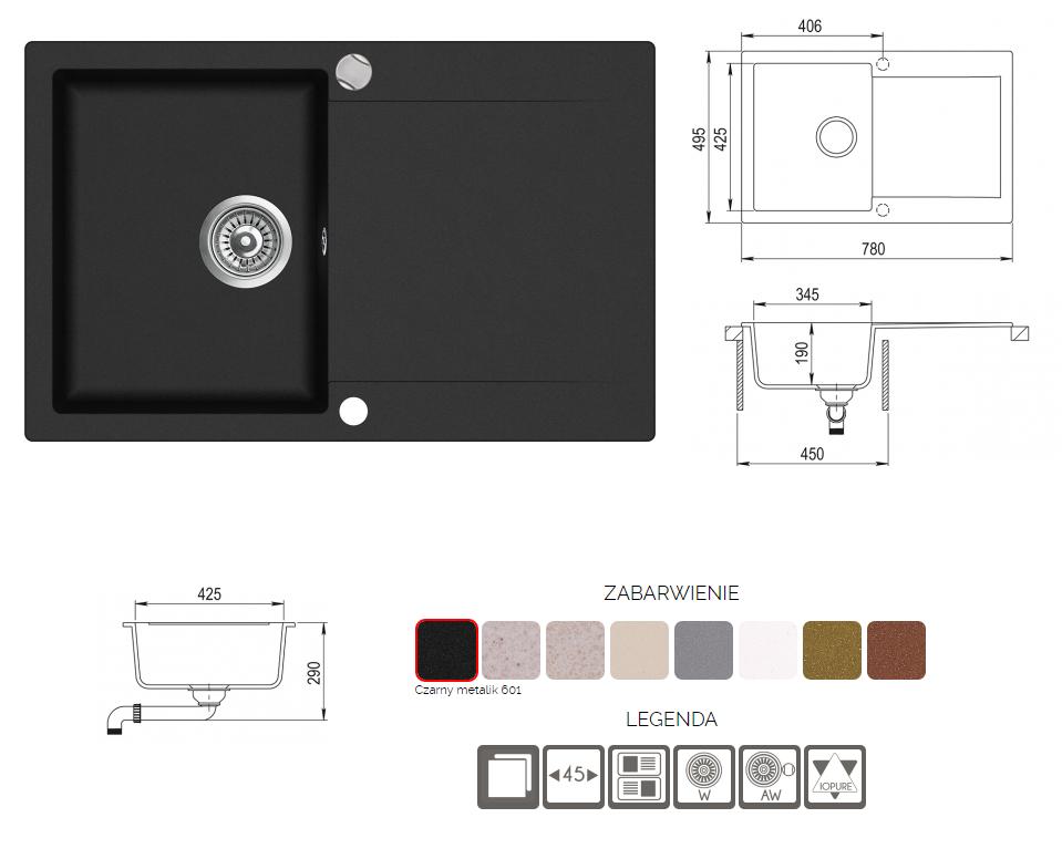 Zlewozmywak Aquasanita CUBA SQC101-601AW Czarny metalik+ syfon